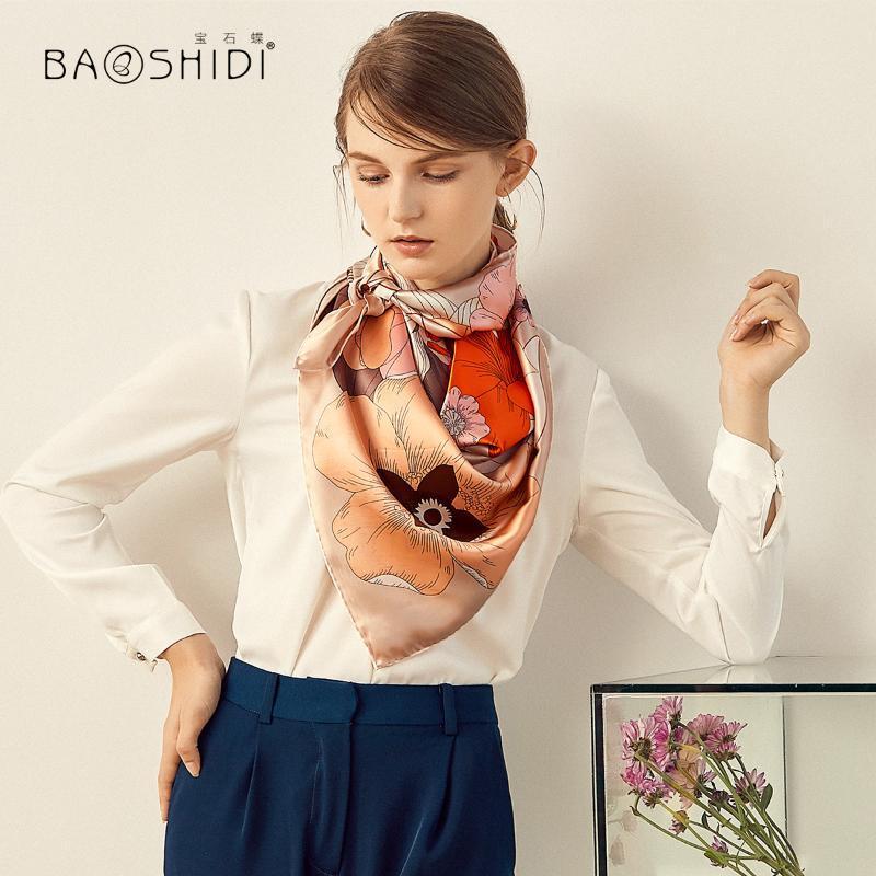 Шарфы шелковые шелковицы с веснами, летом, осенью джокер юбка большие квадраты / тип облака фея