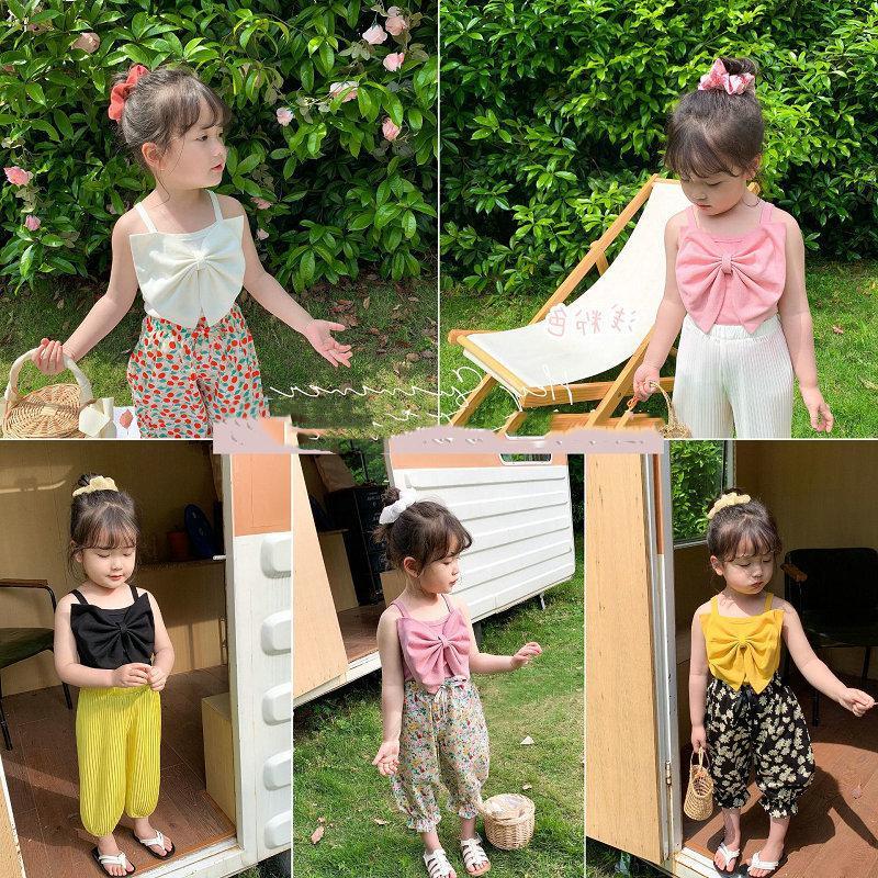 SK Ins Yeni Kalite Modası Çocuklar Kız Üstleri Büyük Ön Yay Kolsuz Yaz ÇocukV Boyun Pileli Dantelli Tops Tees