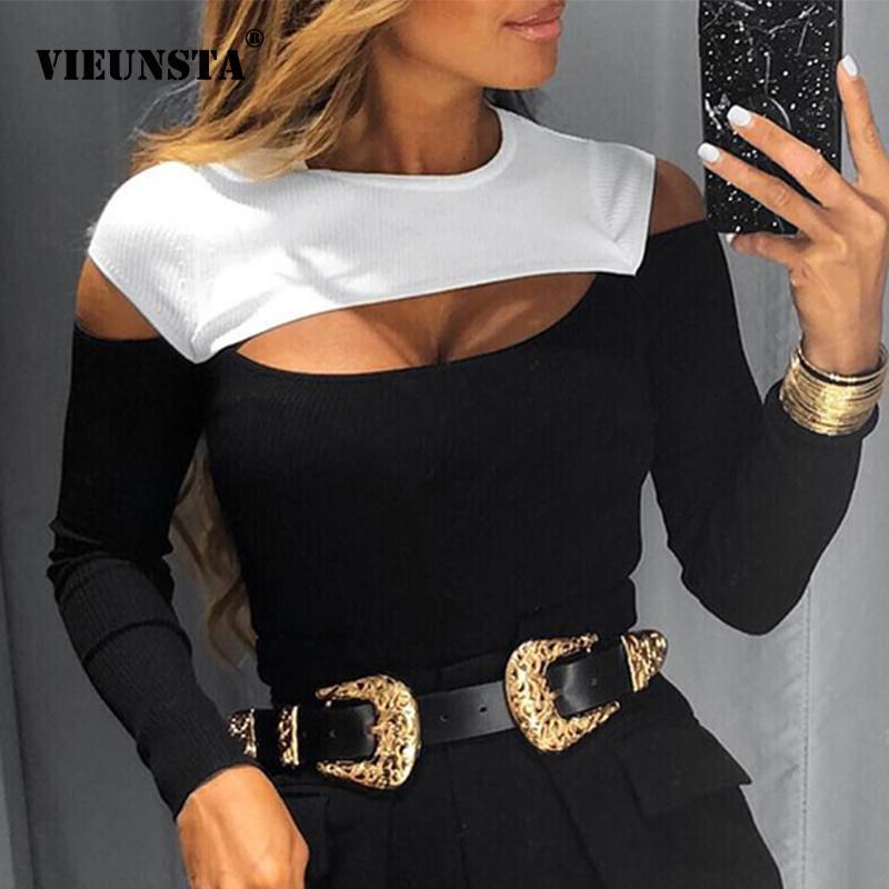 Sexy Off Shoulder Cut Off Patchwork Spring Shirts 2021 Women Hollow Out O Neck Elegant Blouse Autumn Long Sleeve Rib Tops Blusas