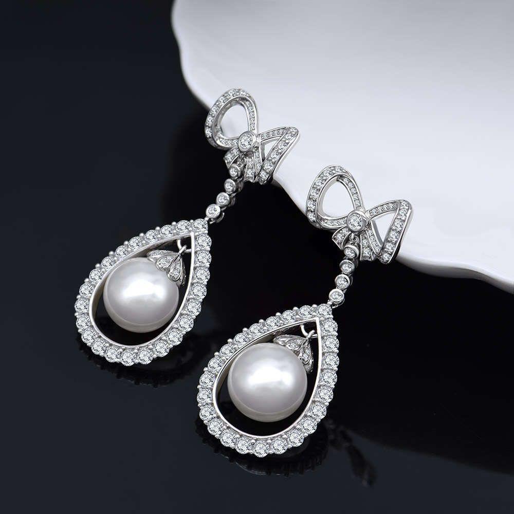 HBP Fashion 2021 Novo Bowknot Pearl S925 Sterling Prata Brincos Luxo Set com jóias de diamante