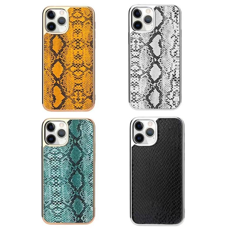 Luxo Chapeamento Cobra Impressão Vintage Couro Volta Caso Cheio Protetora Resistente Durável Python Skin Shell para iPhone 12 Mini 11 Pro Max