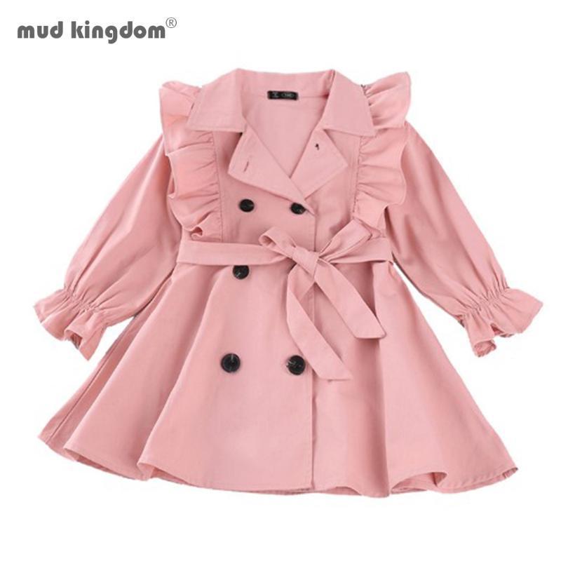 Mudkingdom Mädchen Herbst Oberbekleidung Neue Mode Kinder Mädchen Rüschen Mäntel Schärpen Lässige Outfits Kinder Kleidung