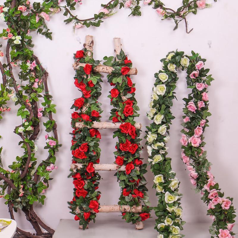 Modello Rose Vine Appendini da parete Fiore Artificiale Rattan Fiore Artificiale Plastica Vite Aria condizionata Aria condizionata conduttura Ind