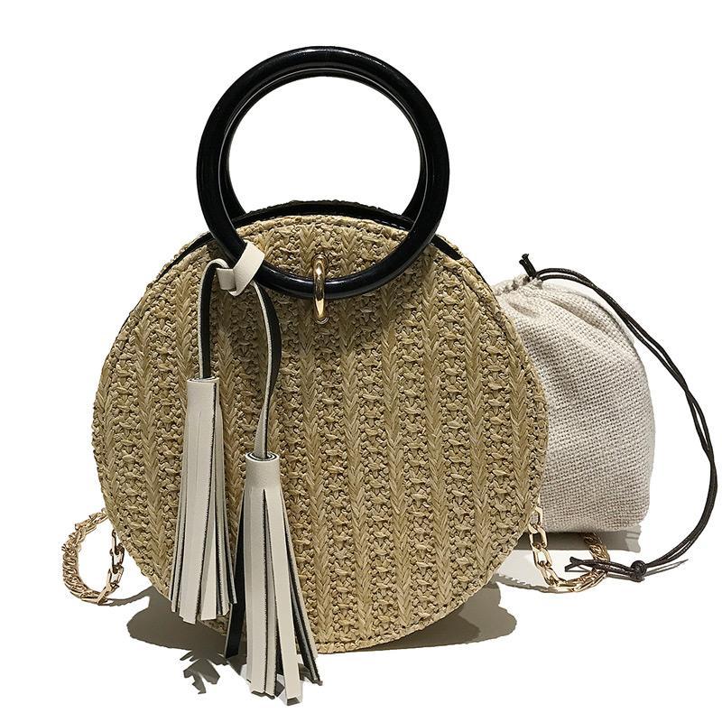 HBP Womens Geldbörsen Runder Handtasche Kette Crossbody Bag Single Umhängetasche Wristlet Brieftasche Runde Taschen Stroh Webe Telefonbeutel
