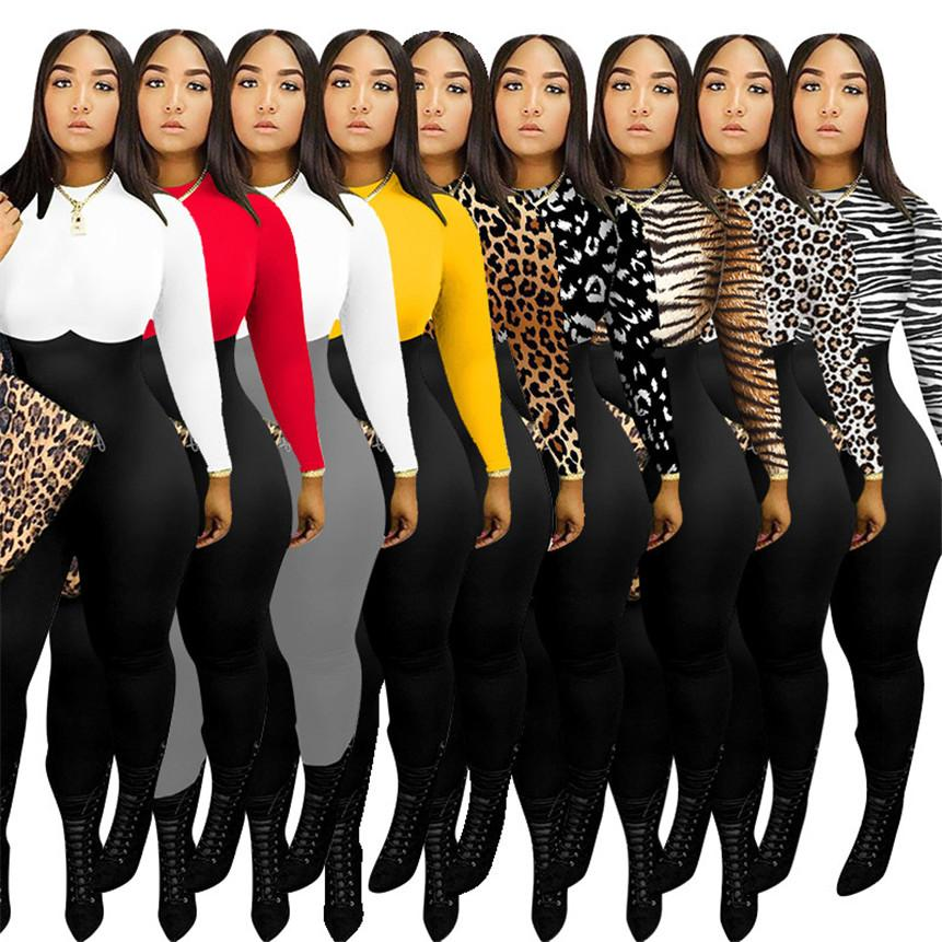 Women leopard rompers panelled Jumpsuits crew neck onesie sexy clubwear spring clothing long sleeve bodysuit bodycon one piece pants 4075