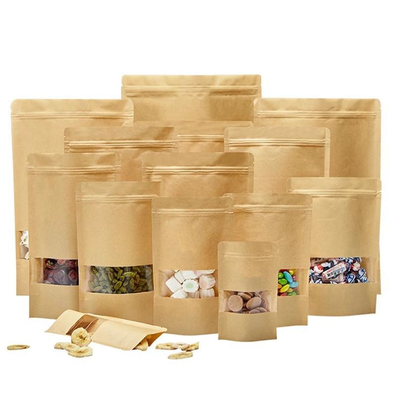 100 pcs lote de pé para cima bolsas de papel kraft bolsas de vedação reutilizáveis com sacos de armazenamento de janela transparente para o café secado