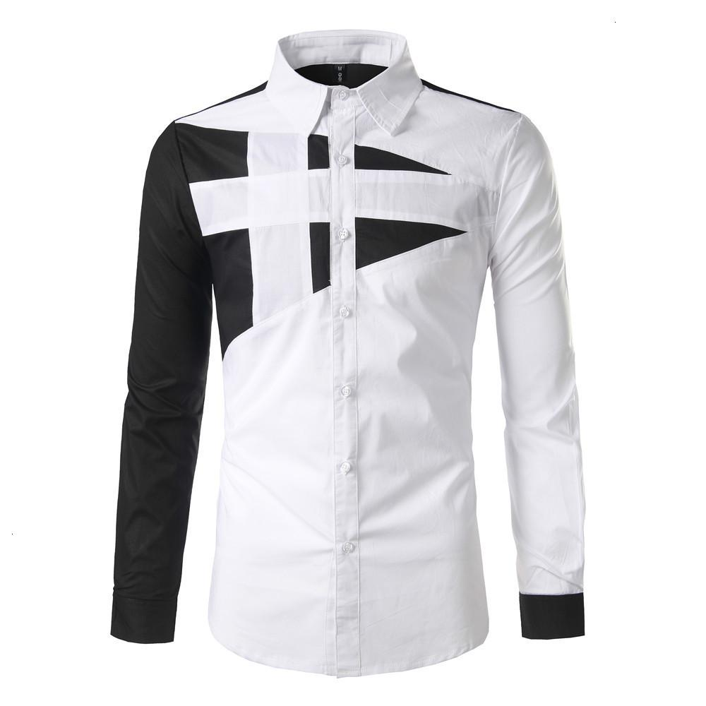 Hot New Herren Slim Long Sleeve Personalisierte Design Kontraststitching Hemd
