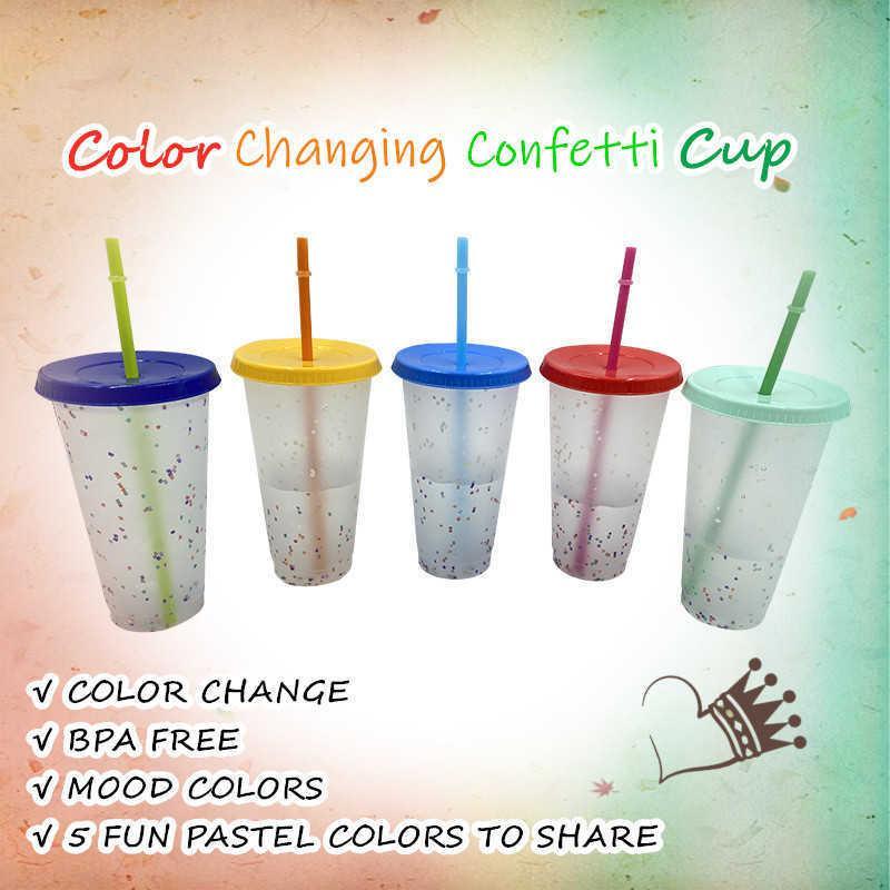 1/5 adet 700/473 ml Renk Değiştirme Konfeti Kapak ve Saman Soğuk Kupası Ile Confetti Kullanımlık Plastik Bardak Drinkware Mutfak Gadget 210608