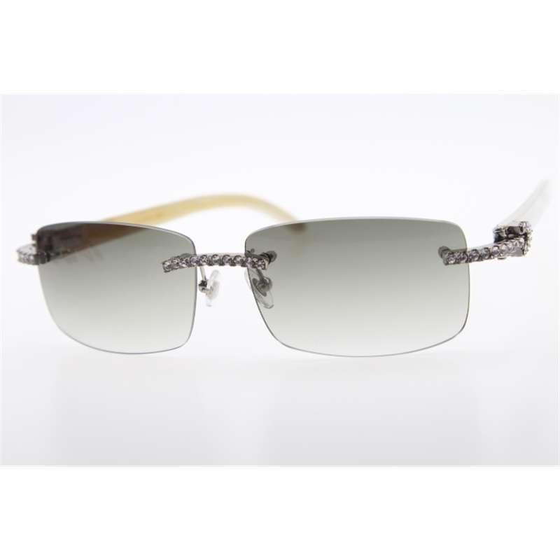 Venta al por mayor de la marca High Fin Hot New Diamond Rimless White Genuino Natural Cuerno Natural Gafas de sol Exquisito Hombres Piedra Unisex Glasses 21s