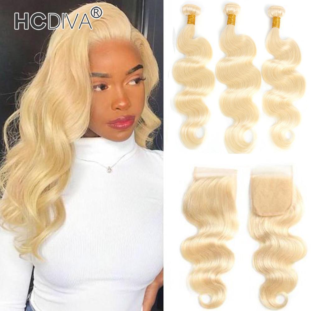 613 pacotes de cabelo com fecho de renda transparentes rendas brasileiro cabelo humano virgem heterossexual onda profunda kinky cacheado 3 pcs com fecho 10-32