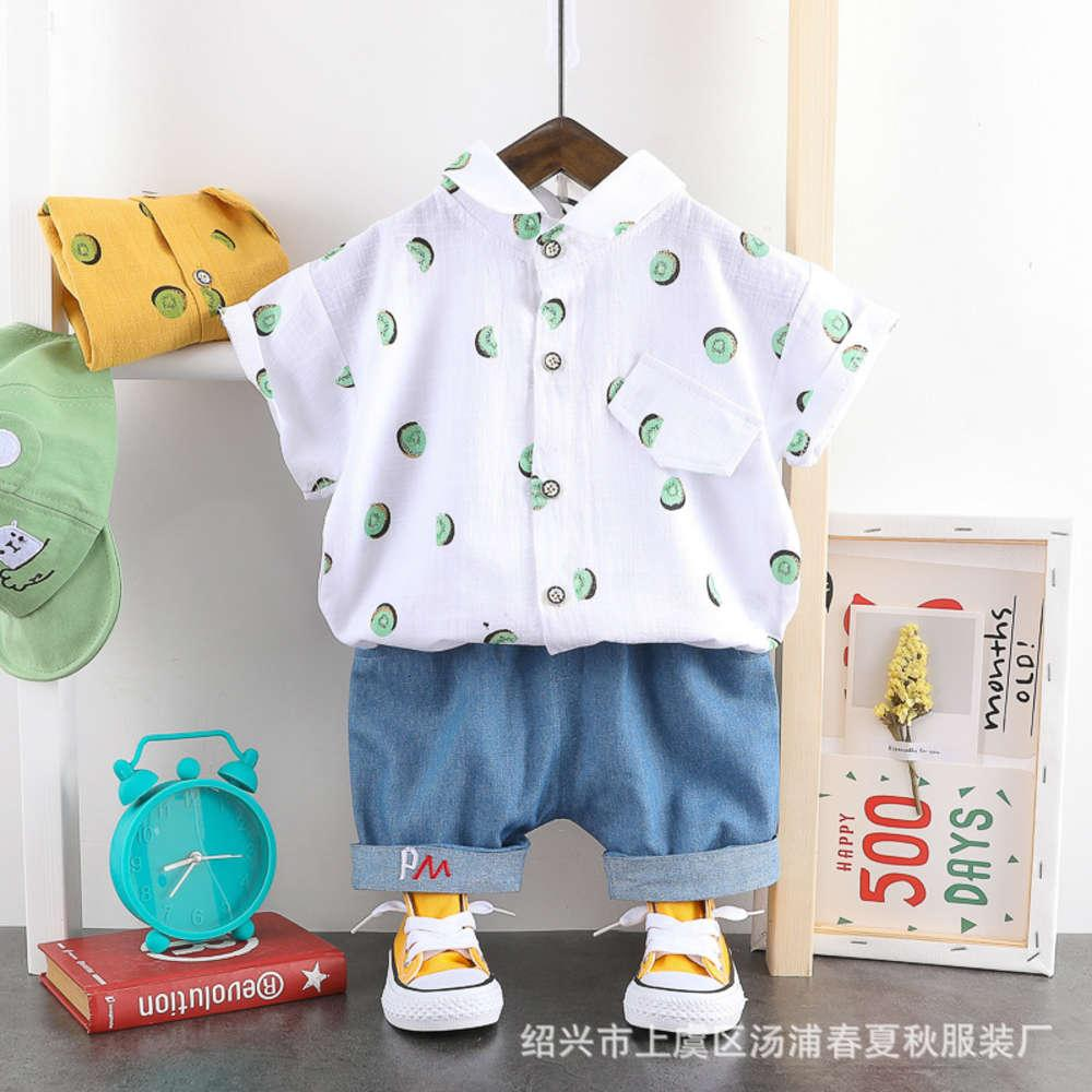 Рубашка рукава короткая домашняя одежда для мальчиков и девочек Летний тонкий ребенок Два куска детская одежда