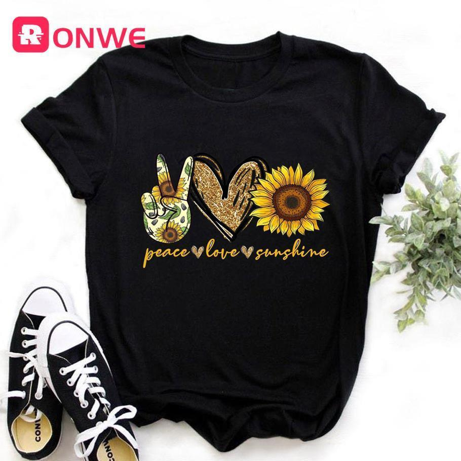 Femmes Sunflower Peace Paix Sunshine Black T-shirt Girl Harajuku Casual Blanc 90s T-shirt Fashion T-shirt Femme Drop Expédition