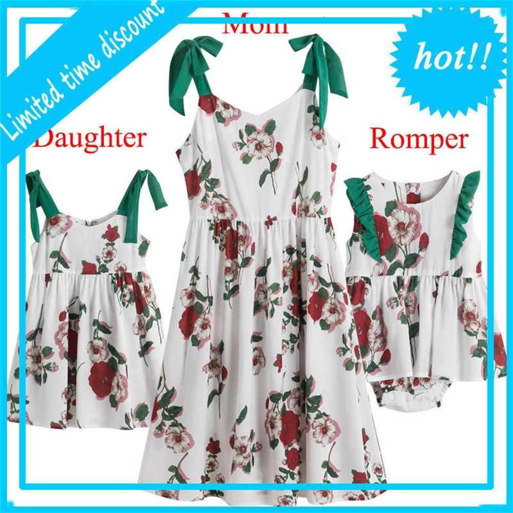 Mother Daughter Look Summer Evening Party Mama and Me Flower Dress Baby Girl Clothing Fashion Family Matching outfits
