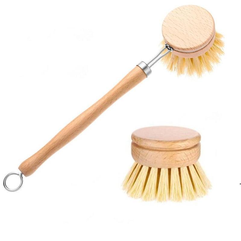Doğal Ahşap Uzun Saplı Pan Pot Fırça Temizleme Fırçası Yıkama Kase Fırça Ev Mutfak Temizleme Araçları OWA3768
