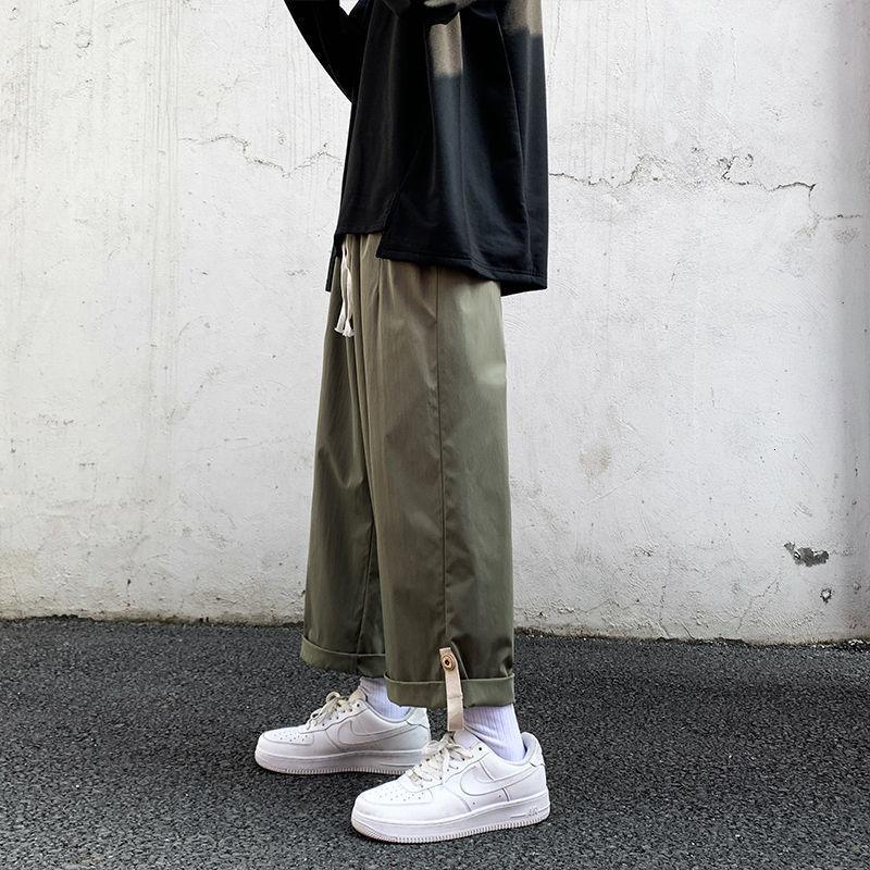 2021 Высочайшее Качество Весна Летняя Широкая Нога Мужская Мода Ретро Повседневные Мужчины Уличная одежда Хип-Хоп Прямые Брюки Мужские Брюки M-5XL 0641
