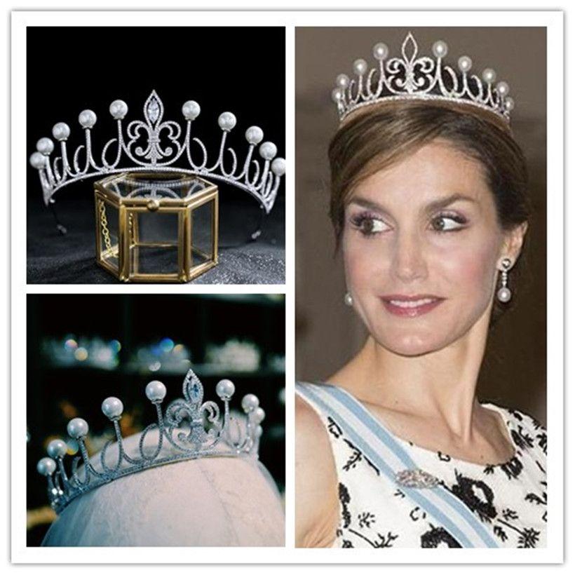 Queen Crown Crown Full Zircon Tiara Queen Princess Headband свадьба свадебные аксессуары для волос Ювелирные изделия головной уборной вечеринка PROM Headwear OrnaEnt Pearls
