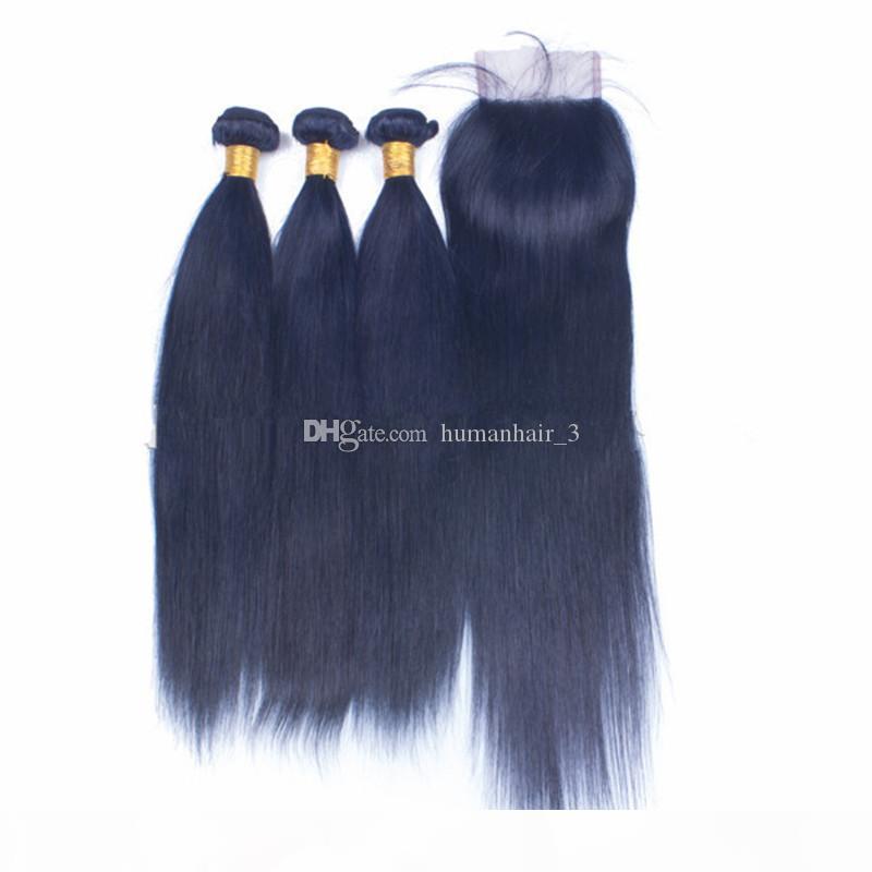 Темно-синие пакеты волос с кружевной закрытием бразильские девственницы волосы для волос человека 3 пакета сделки с 4x4 кружевной закрытием свободной части