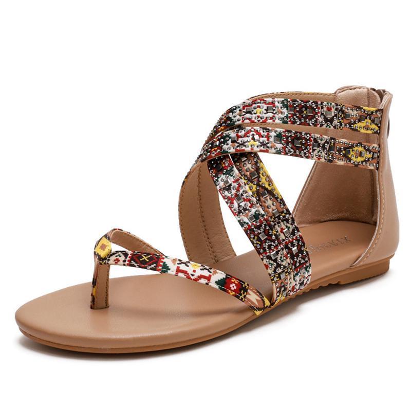 Yeni kadın sandalet vintage çapraz bağlı falt sandalet Roma tarzı çiçek baskı fermuar slayt yumuşak tasarımcı