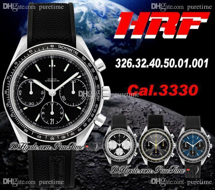 HRF Yarış CAL.3330 A3330 Otomatik Chronograph Mens İzle Siyah Doku Arama Siyah Kauçuk En İyi Edition 326.32.40.50.01.001 Puretime HM01D4