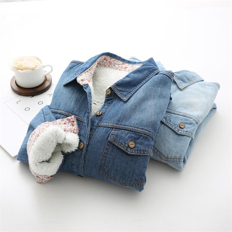 Donne calde inverno Plus Vitalet Denim Shirts Coreano classico Blu spessa manica lunga camicetta camicetta femminile colletto di turn-down Blusa 210226