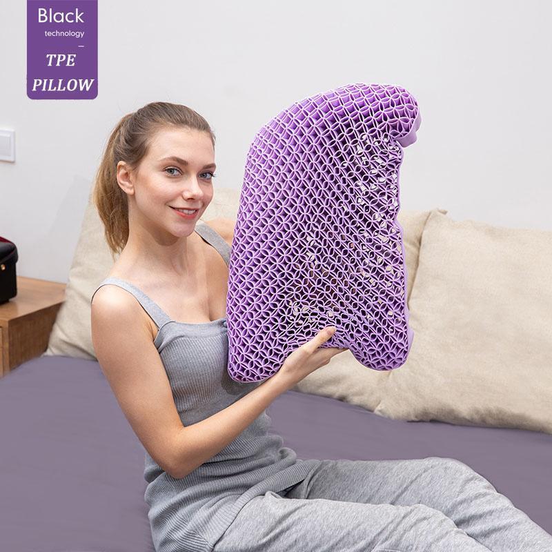 Подушка шеи сообщения кровать прохладный TPE высокая эластичность ортопедическое плечо защита от плеч защита шейки с крышкой для сна путешествия фиолетовый