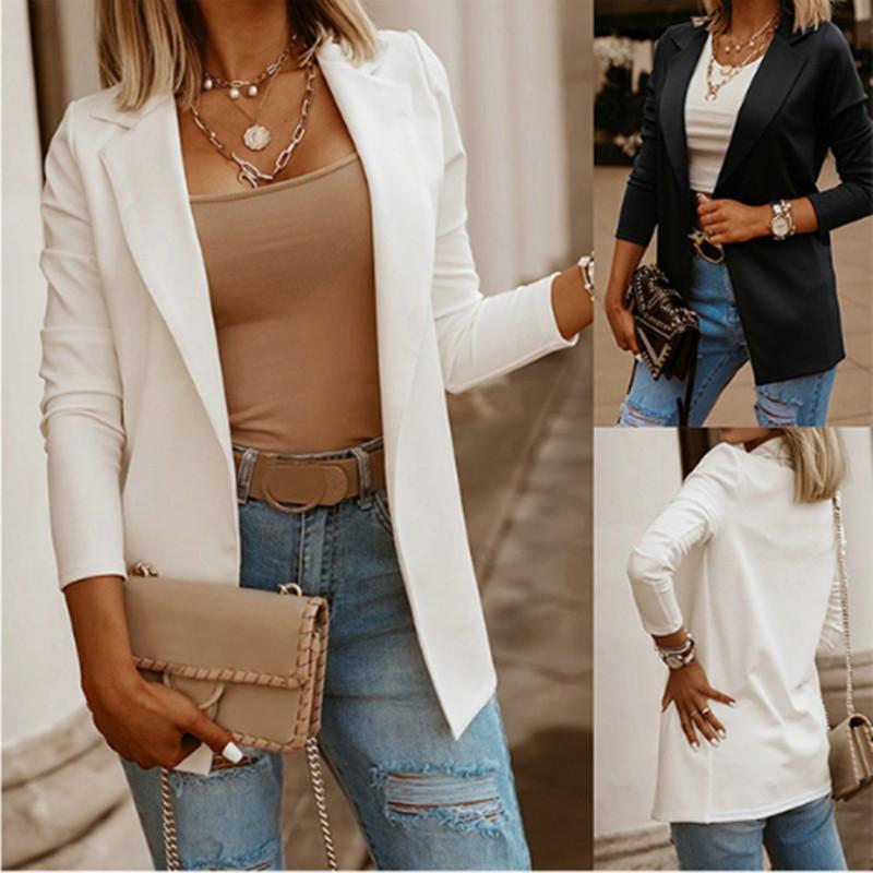 Nuovo vestito di stile Giacca da lavoro a manica lunga Casual Wear Wears Moda Cardigan Solid Color Black White Top Giacca da donna