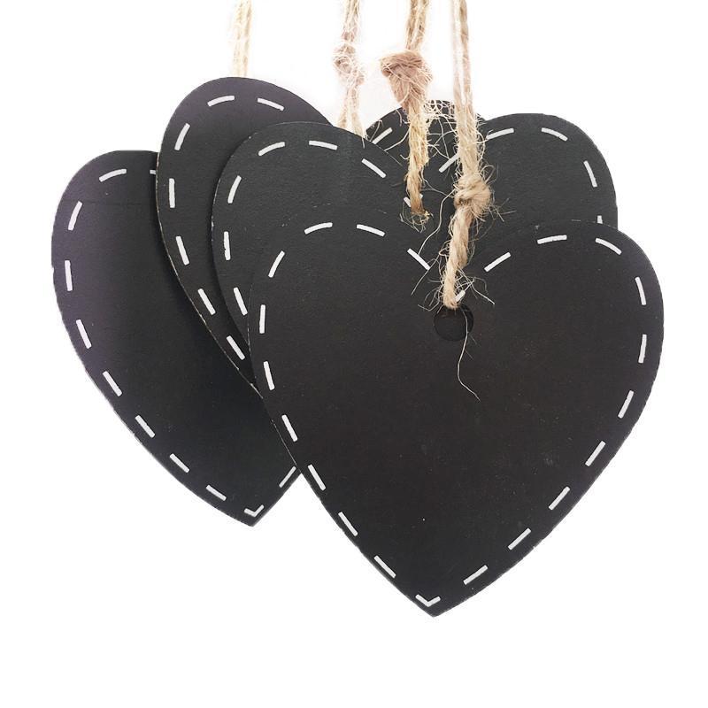 Blackboards 10 ADET Kalp Şekli Ahşap Hediye Tag Blackboard Dize Asmak Fiyat Etiket Kırtasiye Yazma Bildirimi Kurulu Kara Tahta