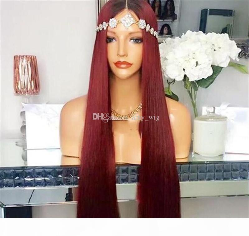 OMBRE 1BT99J полное кружевное парик бразильские девственные волосы шелковистые прямые кружевные фронт человеческие волосы парик красный с темными корнями для женщин