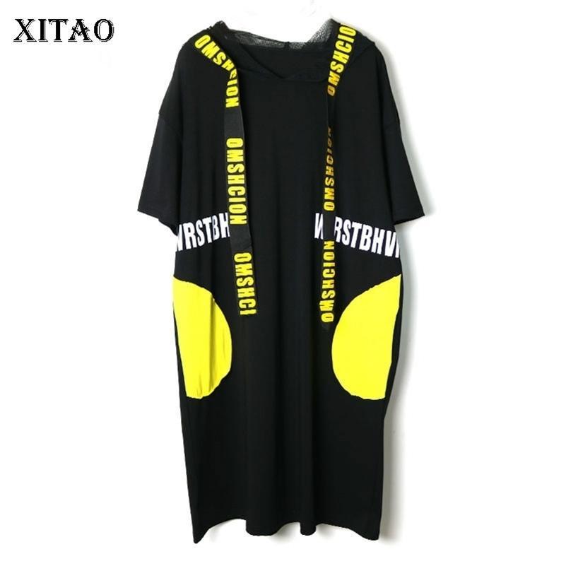 Xitao stampa lettera vestito pieghettato moda plus size modello molla elegante maglia patchwork maglia piccolo fresco vestito casual 210303