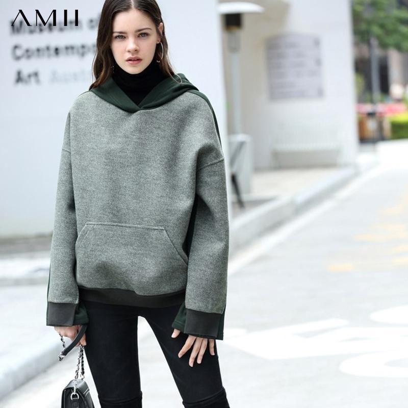 AMII minimalistische Patchwork-Sweatshirt Autumn-Frauen lässig mit Kapuze lose weibliche Pullover Hoodies 11870453