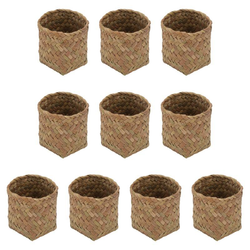 Gift Wrap 10Pcs Straw Woven Box Delicate Wedding Candy Storage (Natural Color)