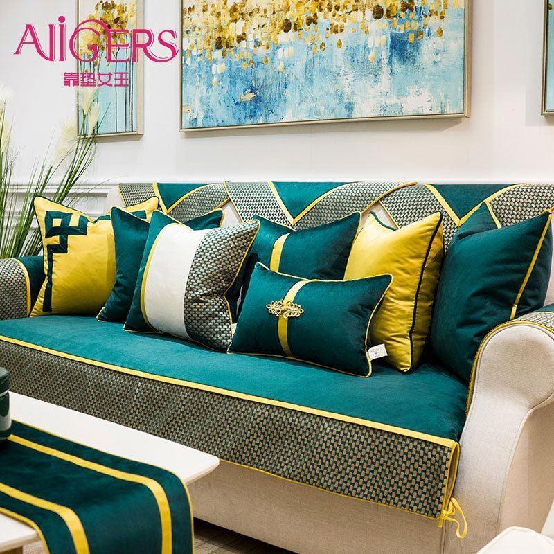 Avigers Роскошные пэчворки бархат чирок зеленые подушки чехлы современный дом декоративный бросок подушки для подушки для спальни дивана 210315