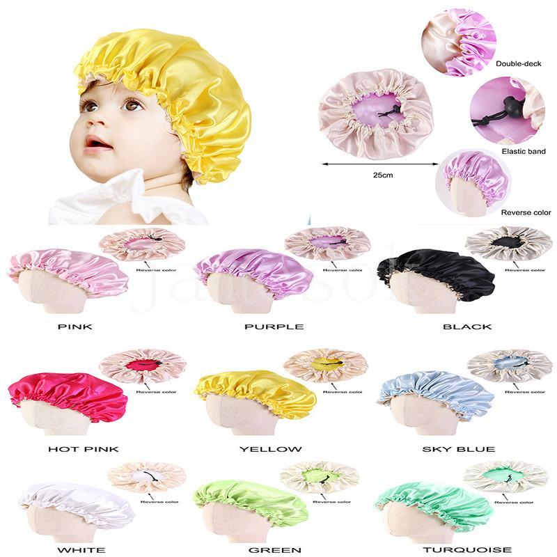 Sıcak Bebek Saten Çift Güverte Gece Kapak Çocuk Eastic Ayarlanabilir Duş Caps Çocuk Bonnet Saç Şapka DD501