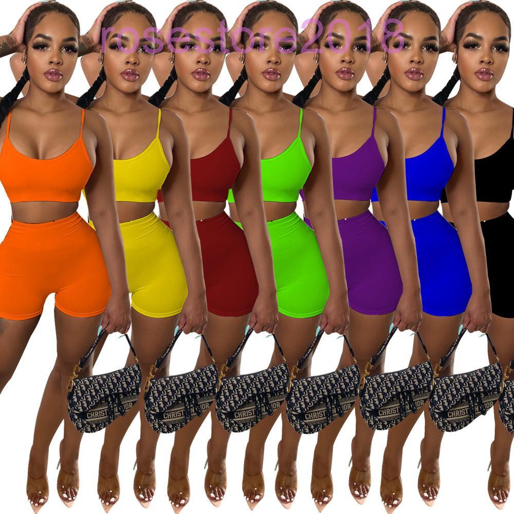 7 Cores Hot Selling Tracksuit Verão Nova Moda Feminina Estilo de Rua Estilo Respirável Suor Absorvente Esportes Sling Shorts Dois Peças Conjuntos