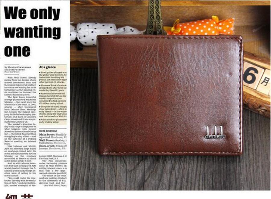 2021 Mode Neue Vintage PU Mens Brieftaschen Feine Bifold Braun Black PU Leder Kreditkarten Kühle TRI Falten Brieftasche Für Männer DHL