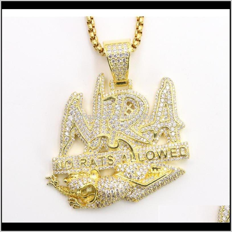 Hip Hop Letter Necklace No Rats Allowed Pendant Iced Out Full Zircon Mens Jllptt Rk4Ac Z6Gh4