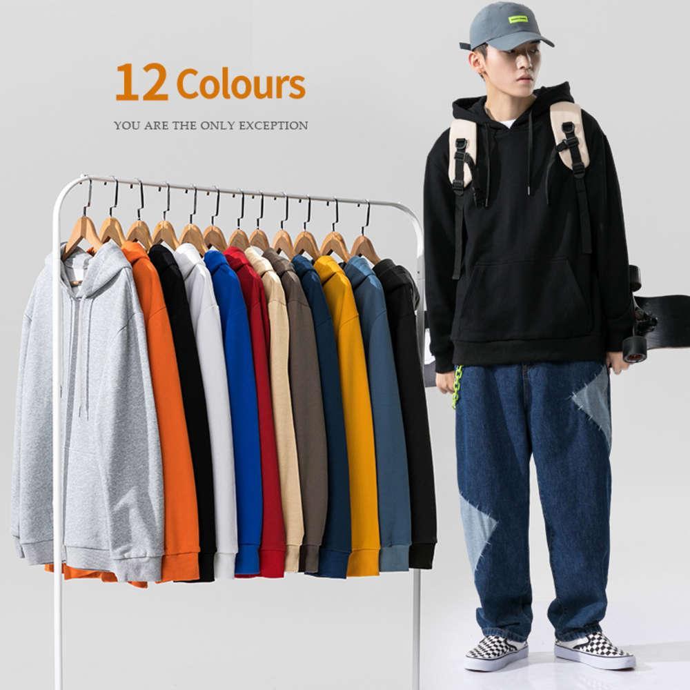 2020 Осенний новый свитер Мужская многоцветная мода бренд капюшона повседневная сплошной цвет пара лучших DF61TP30