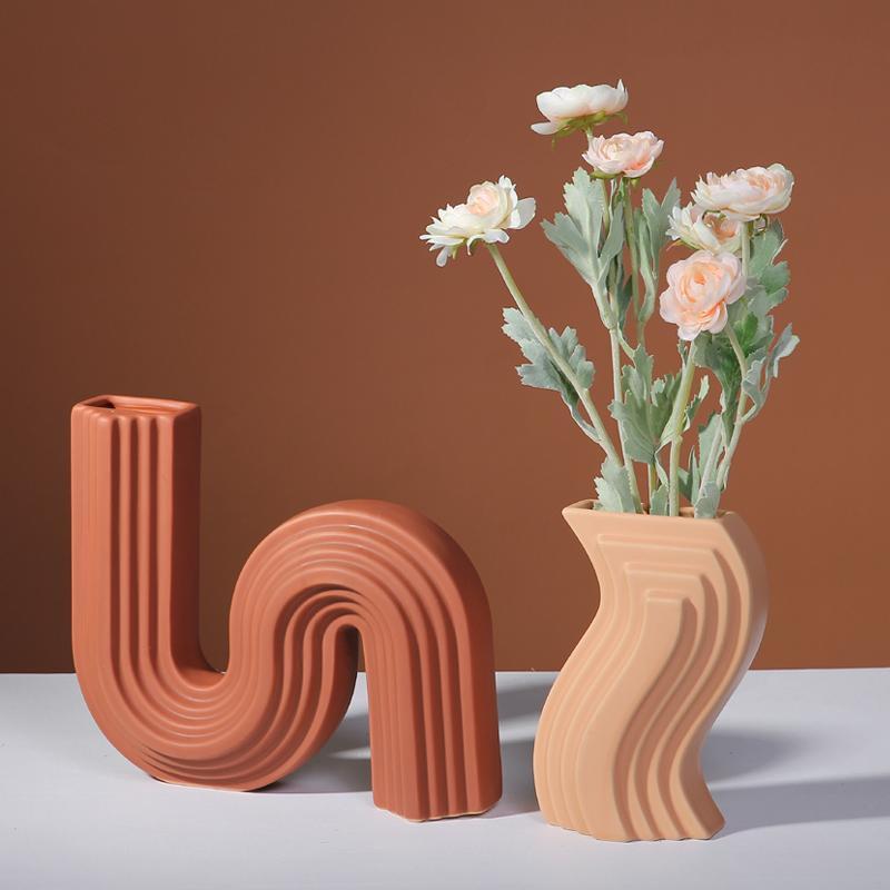 Minimalista Moderna Vaso Decoração Nórdica Mesa Criativa Flor Cerâmica Vaso Sala Escritório Dekoracje Do Pokoju Decoração Home DF50HP