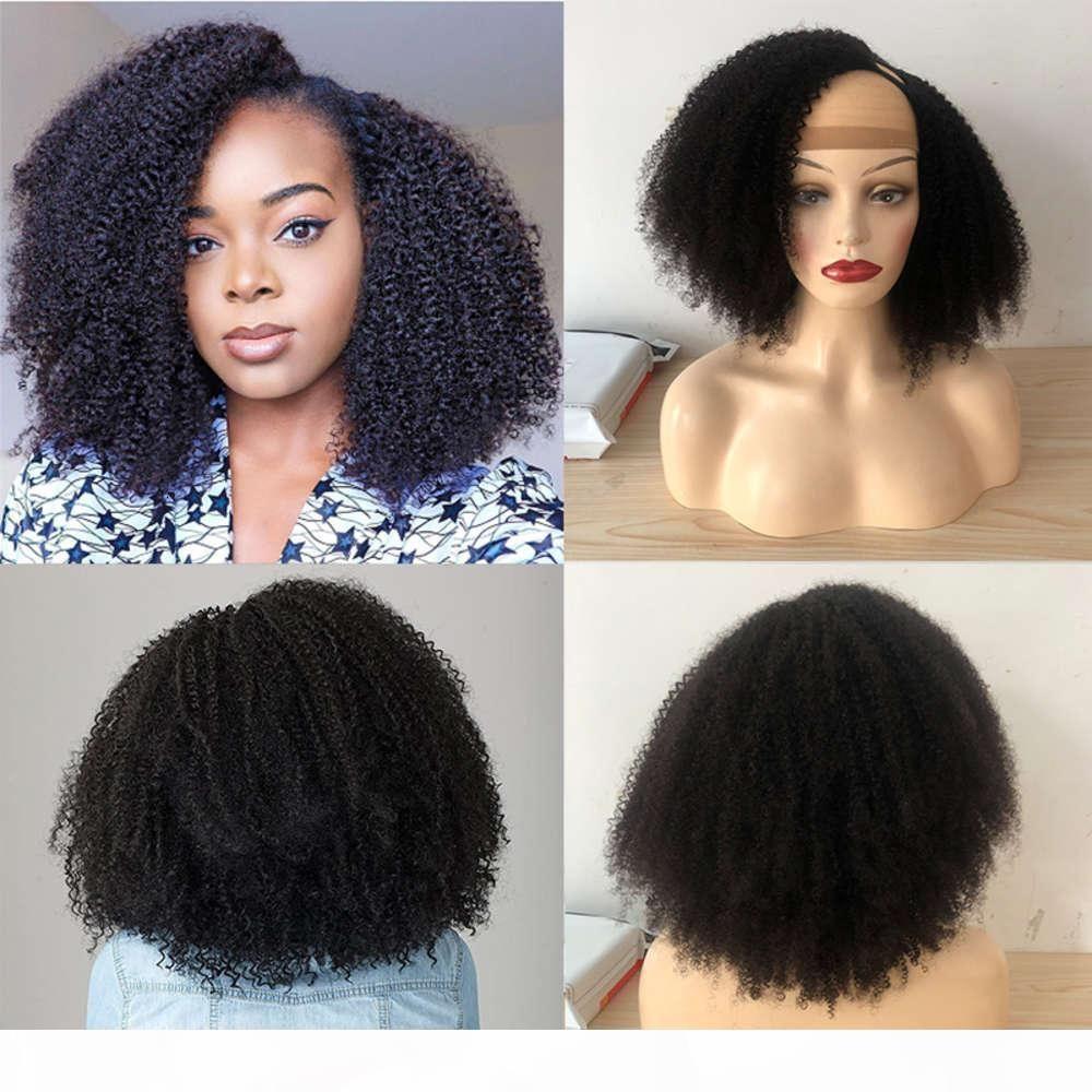 Afro Kinky U Parte Parrucche Umane Brasiliano Remy 180 Density Parrucca Glueless Parrucca per capelli per le donne nere 4b 4c ricci
