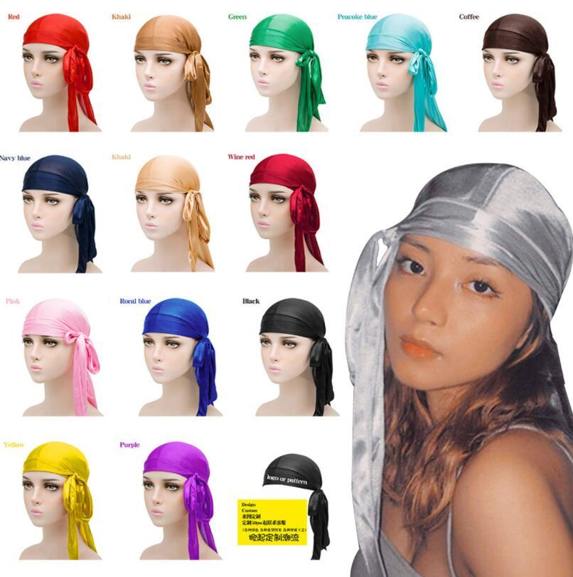 2021 أزياء الرجال الساتان durags باندانا العمامة الباروكات الرجال حريري durag أغطية الرأس عقال القراصنة قبعة اكسسوارات للشعر ل fashionladies666