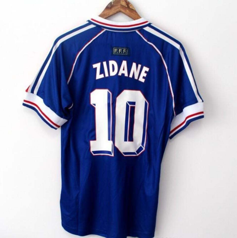 1998 Francia Francia Campeones de la Copa Mundial Retro Vintage Zidane Henry Maillot De Foot Tailandia Calidad de Fútbol Jerseys Uniformes Jerseys Jerseys Kit