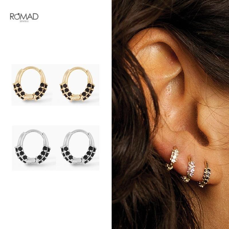 ROMAD Real 925 Sterling Silver Hoop Earrings for Women Luxurious Round Black Zircon Pierced Earings Fine Jewelry Gift kolczyki