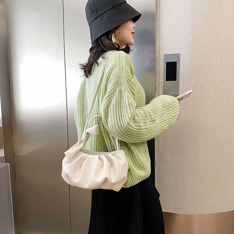 Solid Color Fold Design Crossbody Bags For Women 2020 Luxury Handbags Women Bags Designer PU Leather Shoulder Messenger Bags C0228