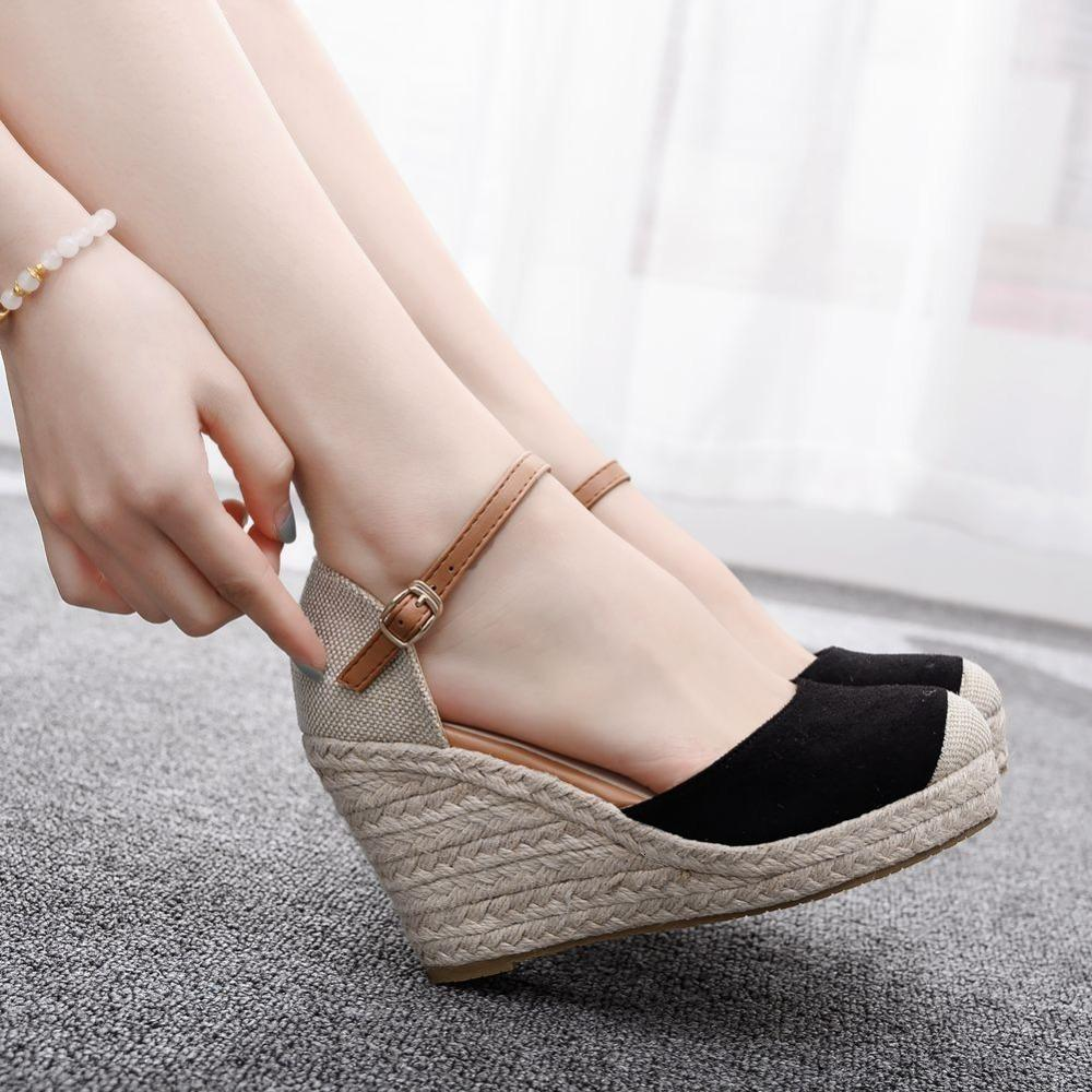 Sandals Sandália de camurça alto feminina cristal queen, sapatos casuais com s do redondo para mulheres SPB3