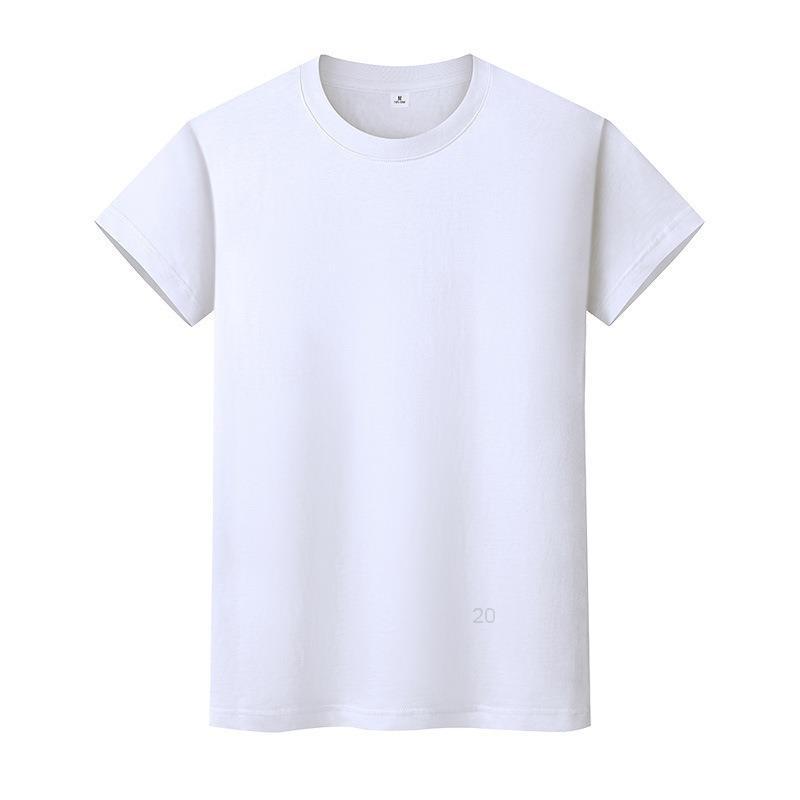 New Round Neck Color Sólido T-shirt Verão de Algodão de Algodão Camisa de mangas curtas Mens de mangas curtas e mulheres meia-manga di6gi