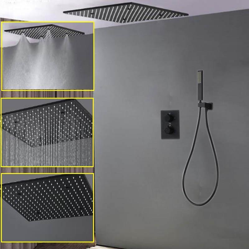 """Душевая панель тумана душевая головка черного светодиода 20 """"Набор душевой головки скрытый смеситель с термостатом квадратный дождь"""