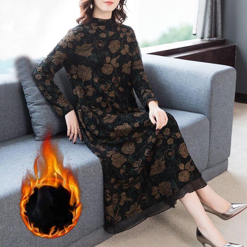 Casual Kleider 2021 Winter lose 4XL plus Größe Floral Warm Maxi Kleid Herbst Vintage Midi Pailletten Elegante Frauen Bodycon Vestidos