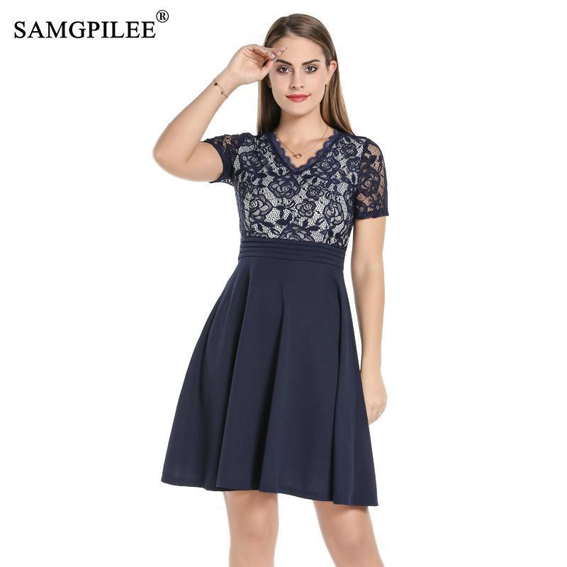 Samgpilee mujeres vestidos de encaje en v cintura ruchada alta cintura una línea vintage azul marino verano vestido formal fiesta de fiesta mujer elegante oficina