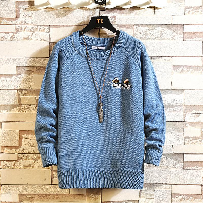 2021 New Sweaters Men's Black Blue White Long Sleeves Autumn Winter Pullover Knitted O-neck Plus Oversize 5xl 0YEZ