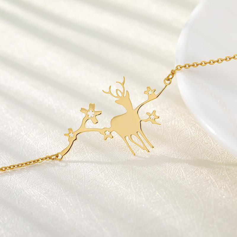 Link, Chain Fashion Stainless Steel Christmas Gift Sika Deer Bracelet For Women Girls Fine Animal Snowflake Pendant Metal Jewelry
